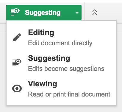 Google Docs Suggesting mode